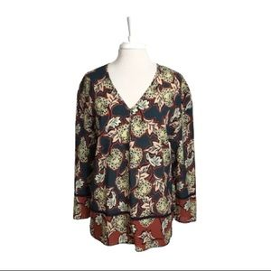 Chelsea & Theodore Navy And Rust Floral Tunic Top